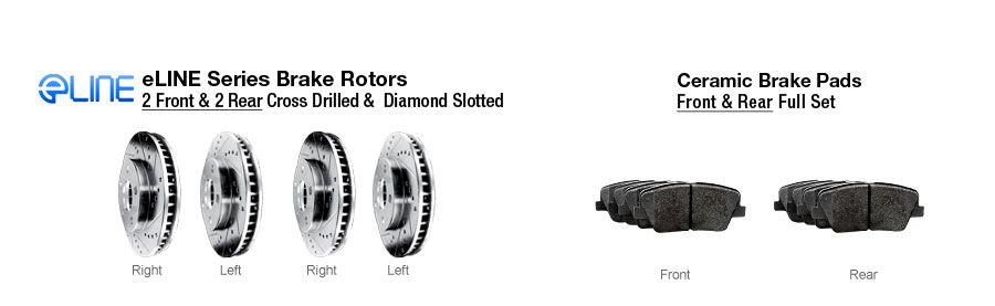 Brake Rotors FULL KIT ELINE DRILLED SLOTTED /& PADS-Saab 9-3 06-08 Aero 2.8L
