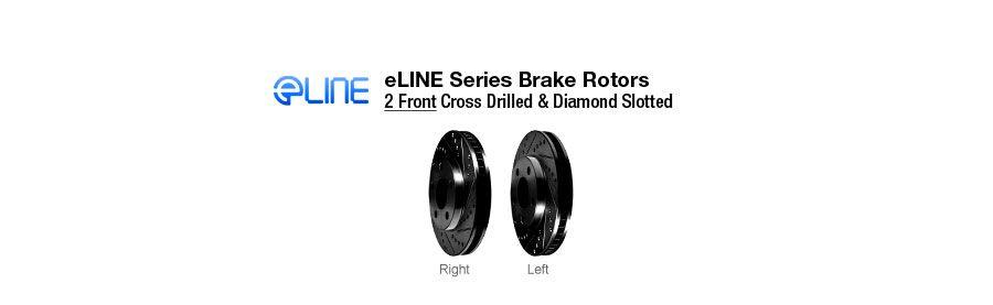 Rear eLine Drilled Slotted Brake Rotors /& Ceramic Brake Pads REC.42065.02