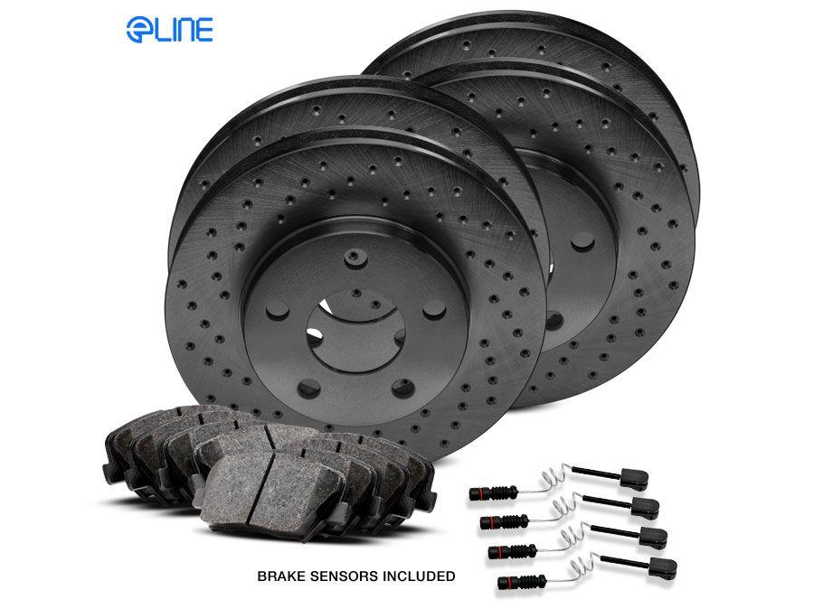 Fit 2014 Mercedes-Benz ML350 Rear Black Drill Slot Brake Rotors+Ceramic Pads