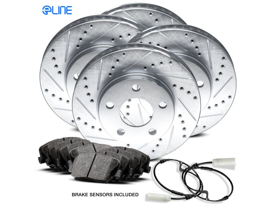 Acura TSX 2011-2014 Brake Rotors FRONT ELINE DRILLED SLOTTED