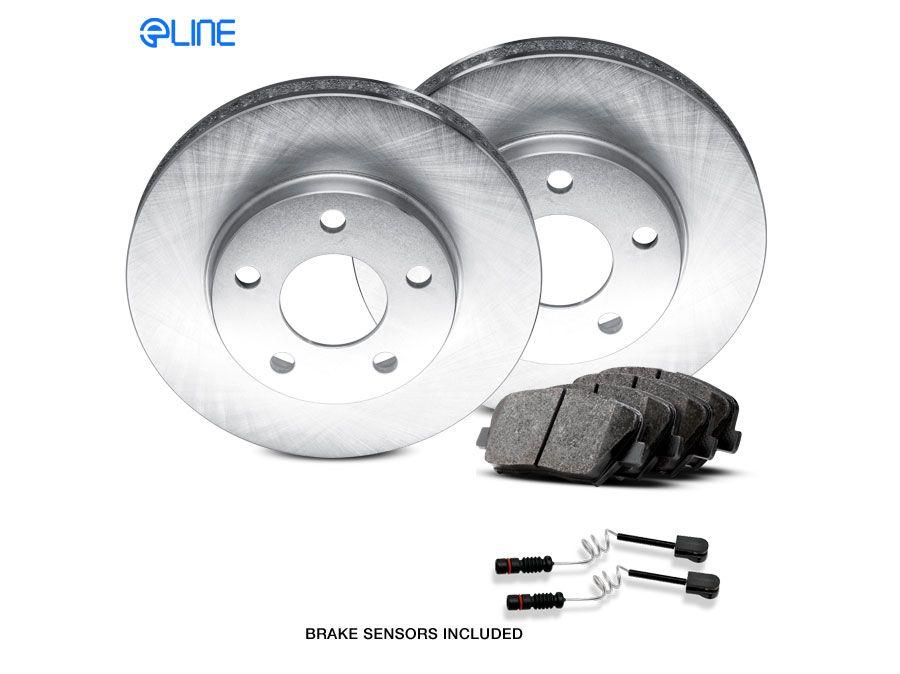 Ceramic Brake Pads For 2008 Subaru Impreza Rear eLine Plain Brake Rotors