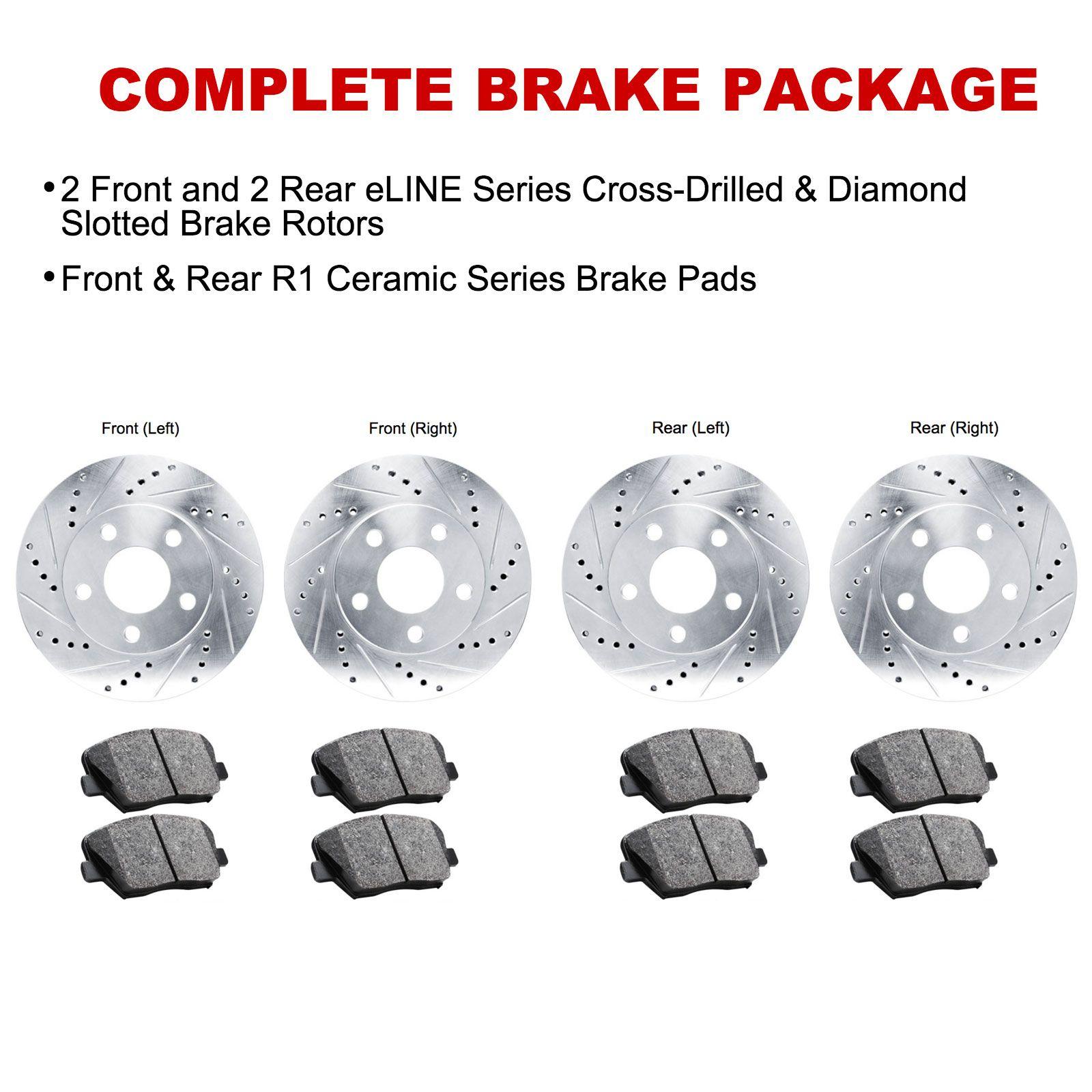 For 1997-2000 BMW 540i Front Rear eLine Drill Slot Brake Rotors