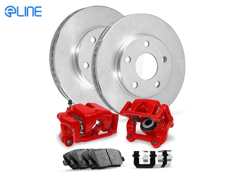 For 2011-2014 Ford Mustang Rear eLine Plain Brake Rotors Ceramic Brake Pads