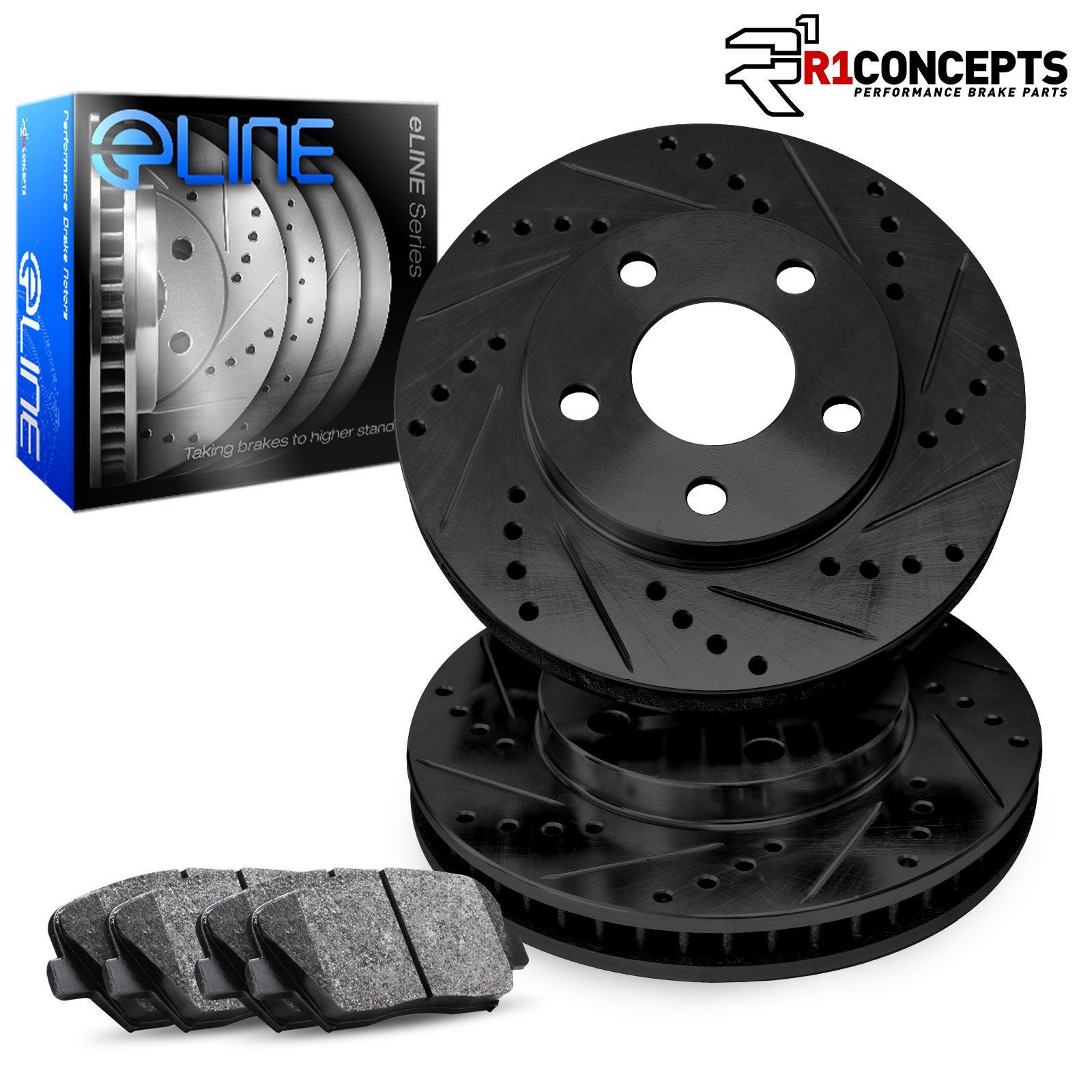 Fits 1981-1984 Toyota Starlet Front Black Drill Slot Brake Rotors+Ceramic Pads
