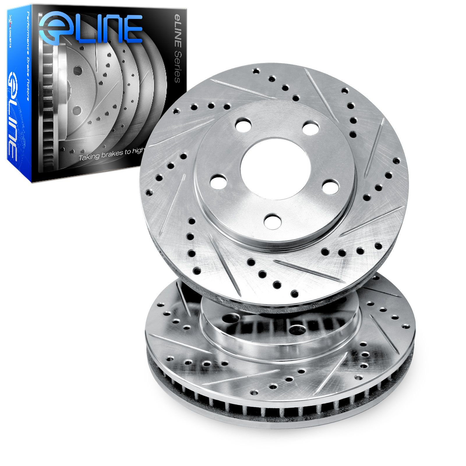 """Brake Rotors 2 FRONT ELINE /""""DRILLED AND SLOTTED/"""" PERFORMANCE DISC RQ48245"""