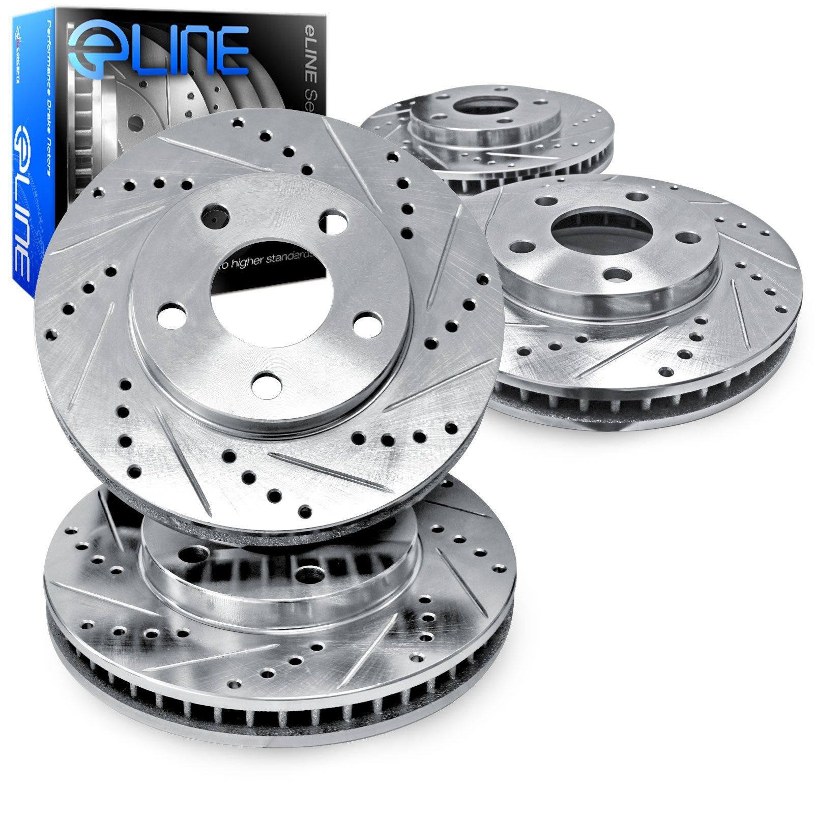 """2 REAR ELINE /""""DRILLED SLOTTED/"""" PERFORMANCE DISC RM13056 Brake Rotors 2 FRONT"""