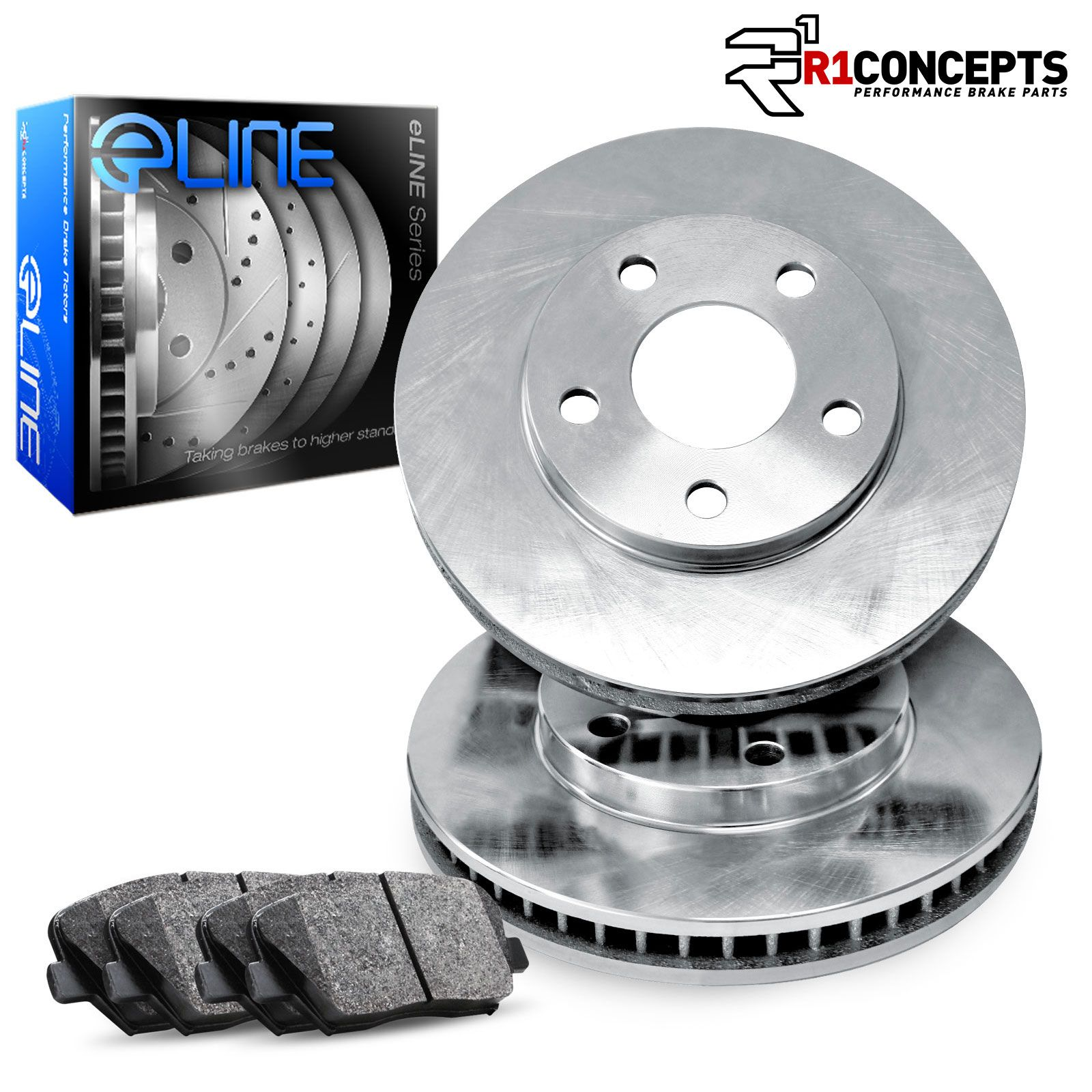 Semi-Met Brake Pads For 2002 Subaru Legacy Front eLine Plain Brake Rotors