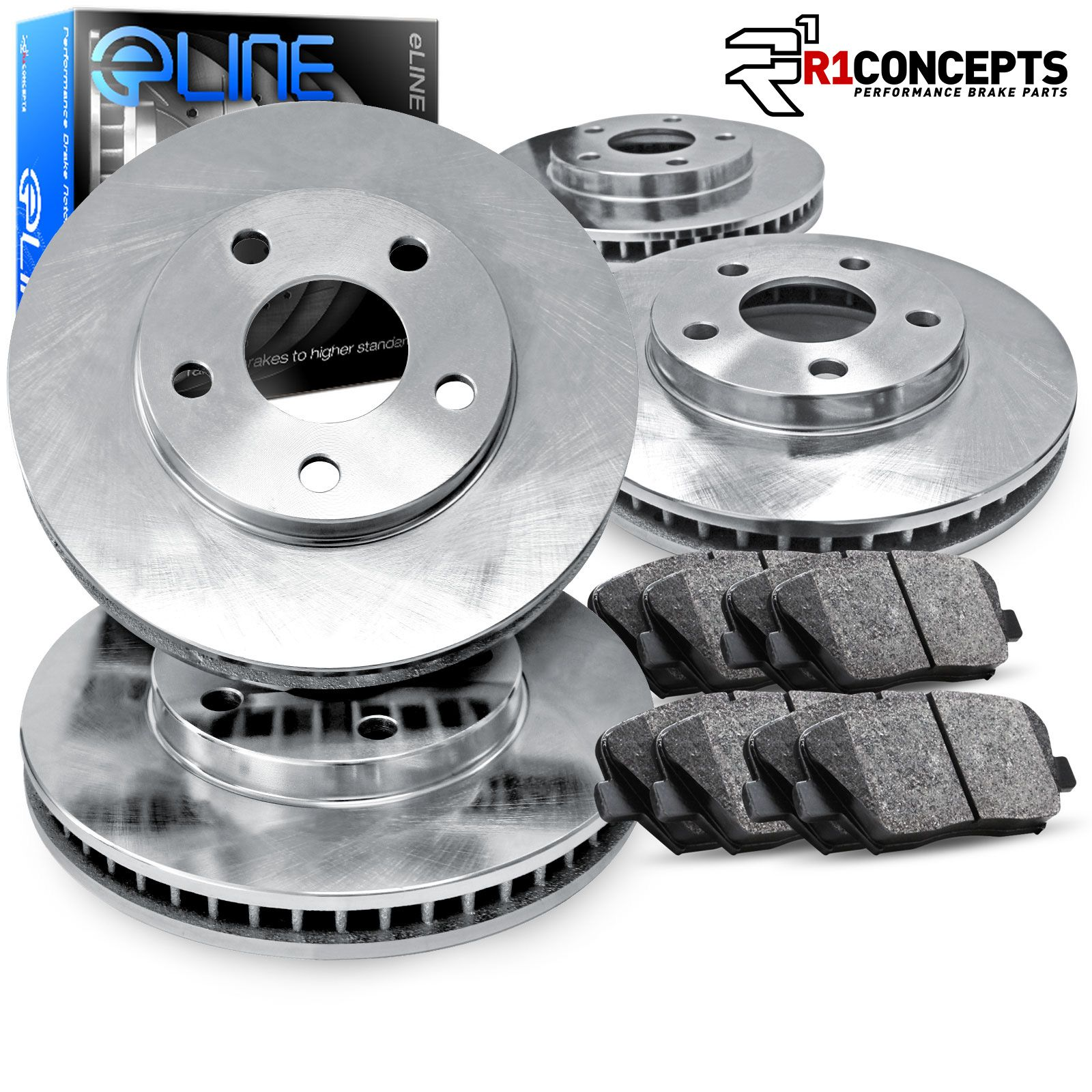 Ceramic Brake Pads For 2003-2005 Cadillac CTS Rear eLine Plain Brake Rotors