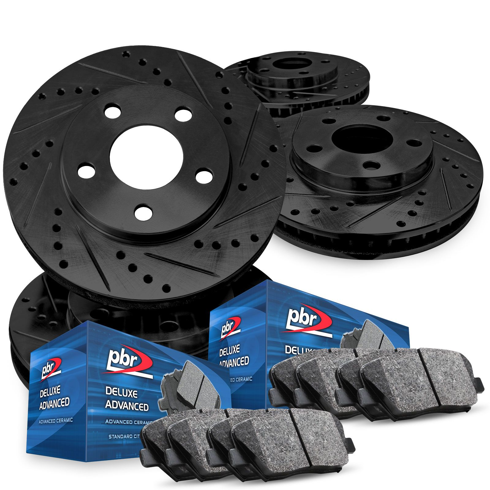 For 2015-2018 Subaru WRX Full Kit PBR AXXIS Drill//Slot Brake Rotors+Ceramic Pads