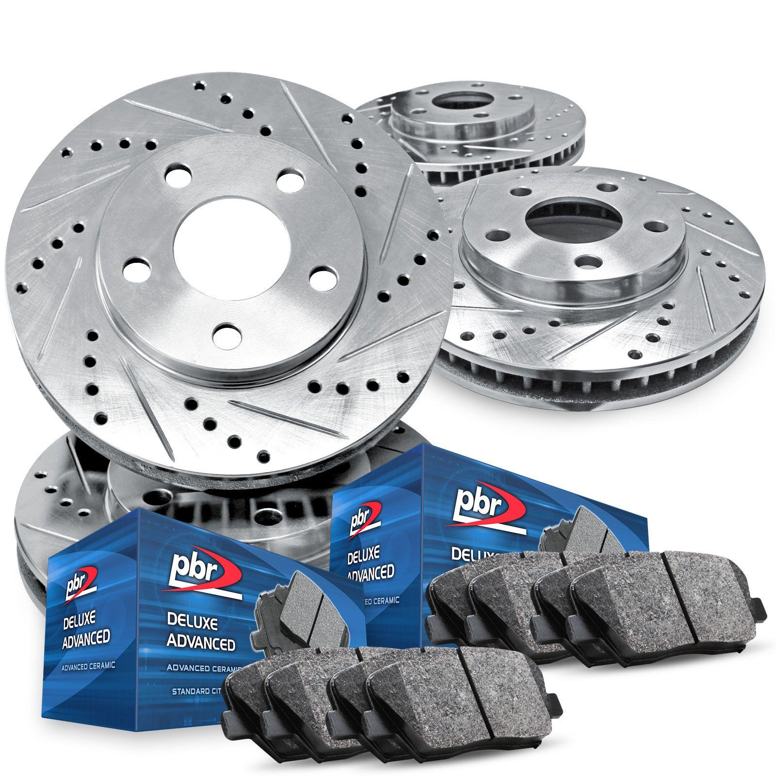For Subaru Legacy Impreza Front Rear  Drill Slot Brake Rotors+Ceramic Brake Pad