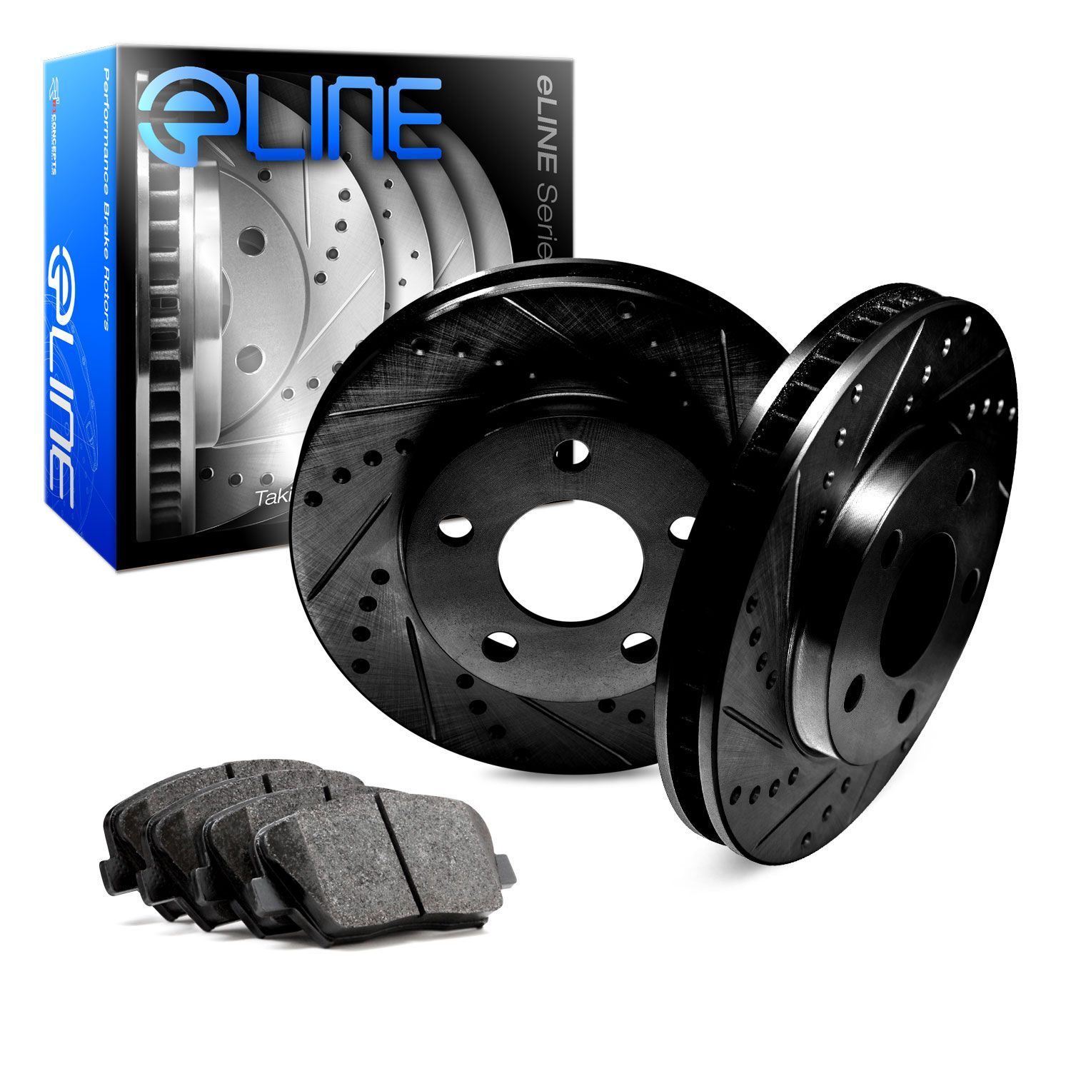 For 2015-2017 Subaru WRX Front Rear eLine Drill Slot Brake Rotors+Ceramic Pads