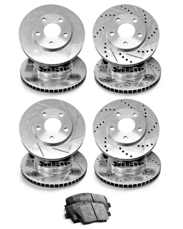 Rear R1 Concepts KEX11648 Eline Series Cross-Drilled Rotors And Ceramic Pads Kit